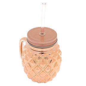 Pineapple Mason Jar Cup - Rose Gold,