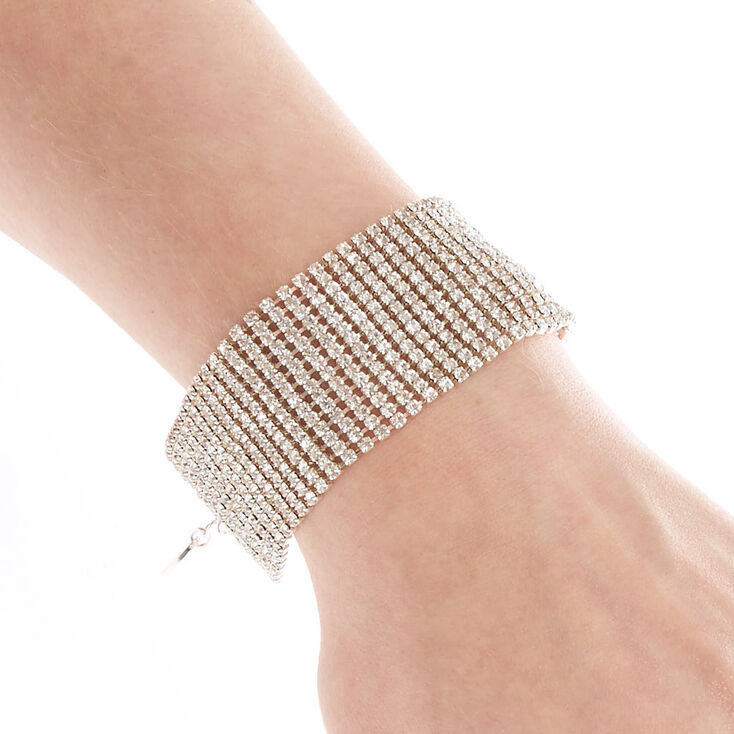 Wide Simulated Crystal Bracelet,
