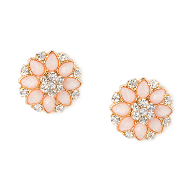 Pink Glitter Stone Flowers with Crystals Stud Earrings,