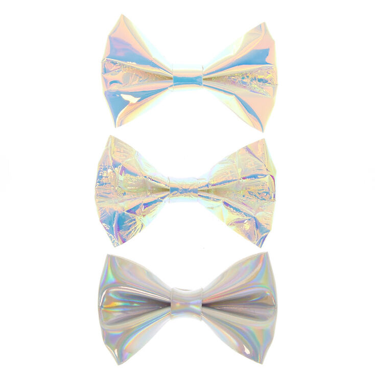 3 Pack Holographic Hair Bow Clips,