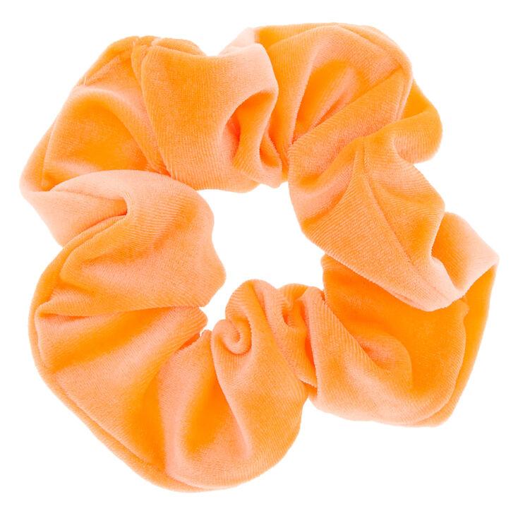 Velvet Hair Scrunchie - Neon Orange,