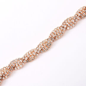 Rose Gold Rhinestone Twisted Choker Necklace,