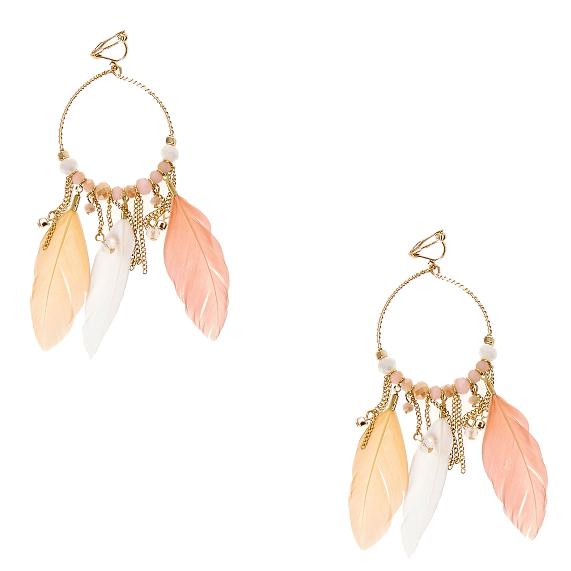 Gold Tone Hoop Pastel Feather Clip On Drop Earrings Icing Us