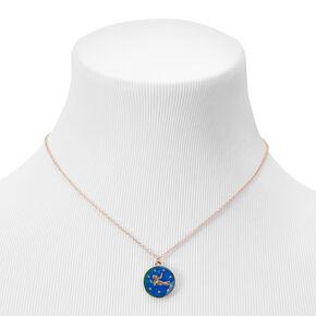 Gold Round Mood Zodiac Pendant Necklace - Virgo,