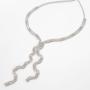 Silver Rhinestone Double Row Y-Neck Pendant Necklace,