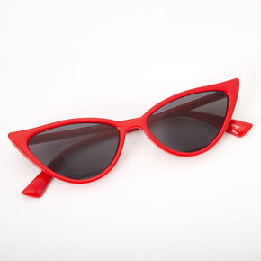 Winged Cat Eye Sunglasses - Red,