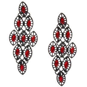 "Black 2"" Stone Drop Earrings - Red,"