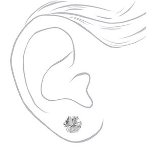 Sterling Silver Cubic Zirconia Round Stud Earrings - 10MM,