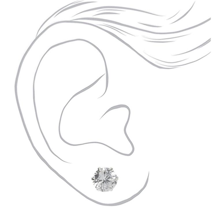 Sterling Silver Cubic Zirconia Round Stud Earrings - 10MM,