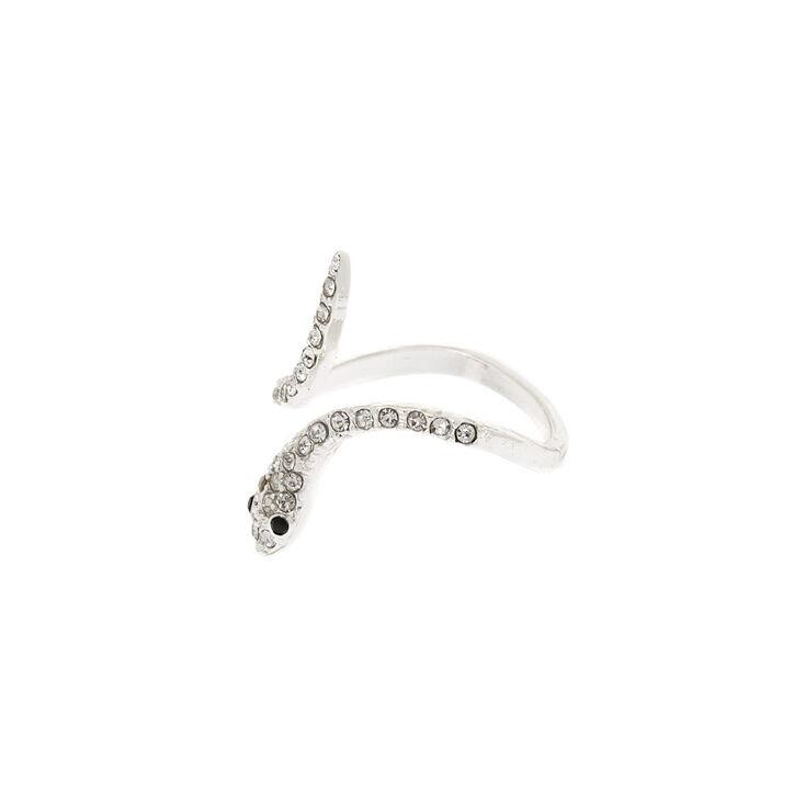Silver Embellished Snake Ring,