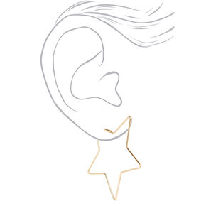 Gold 60MM Star Hoop Earrings,