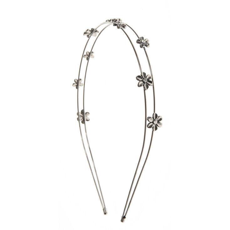 Hematite  Flower Double Strand Headband,
