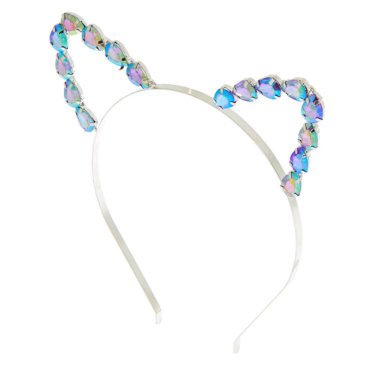 Anodized Stone Cat Ears Headband - Silver,