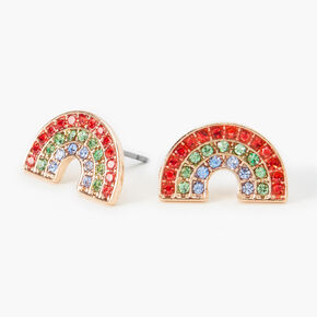 Gold Embellished Rainbow Stud Earrings,