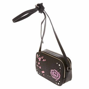 Black Faux Leather Crossbody Camera Bag,