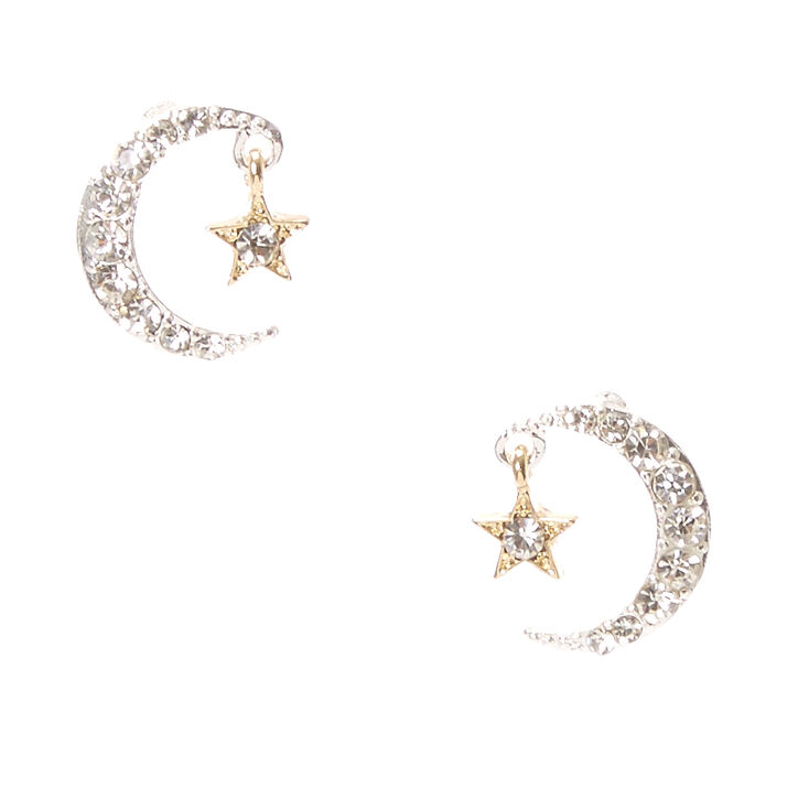 Crystal Studded Moon & Star Stud Earrings,