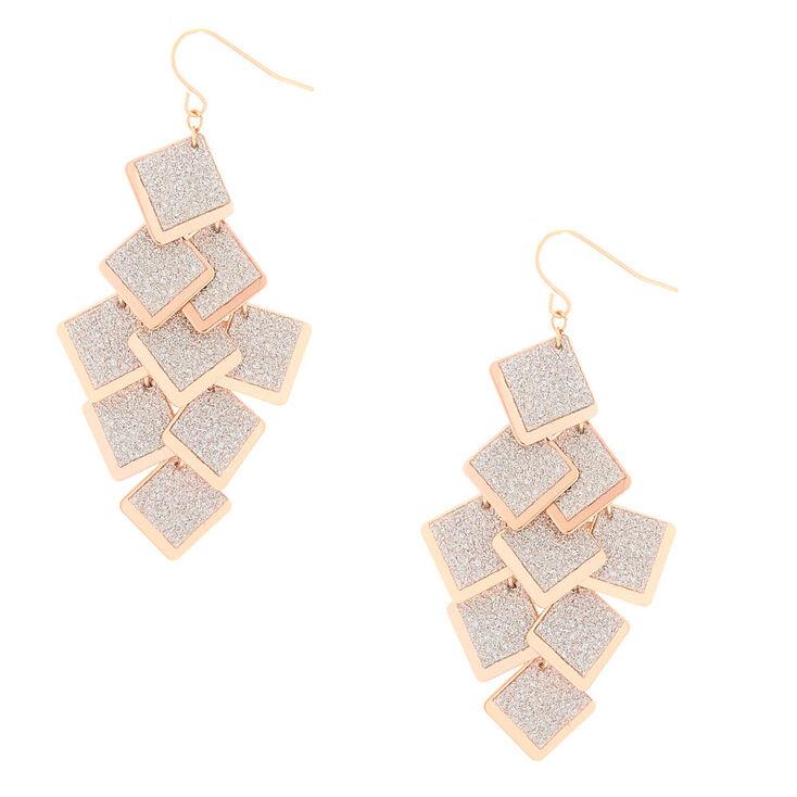 "Rose Gold 2.5"" Glitter Square Drop Earrings,"