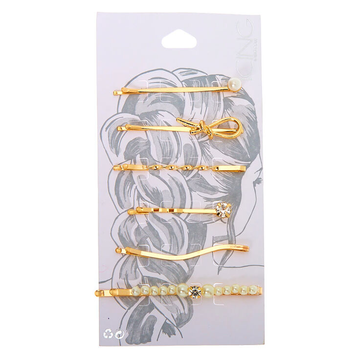 Gold Knotted Crystal Pearl Hair Pins - 6 Pack,