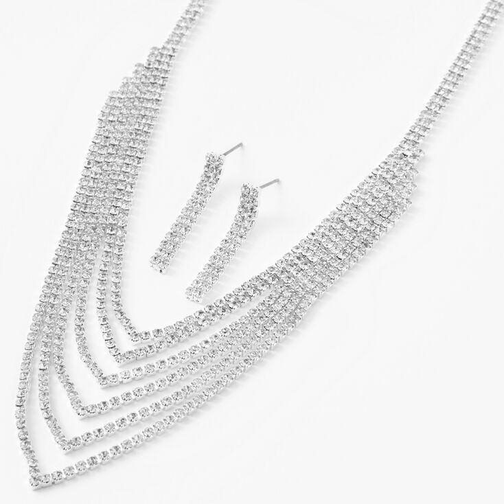 Silver Six Row Rhinestone Jewelry Set - 2 Pack,