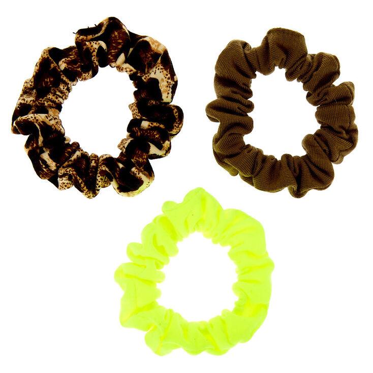 Neon Leopard Mini Hair Scrunchies - 3 Pack,