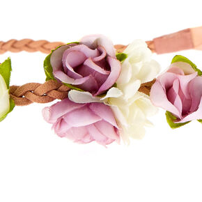 Mauve Flower Crown Tie Headwrap,