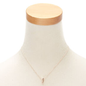 Rose Gold Cursive Initial Pendant Necklace - J,