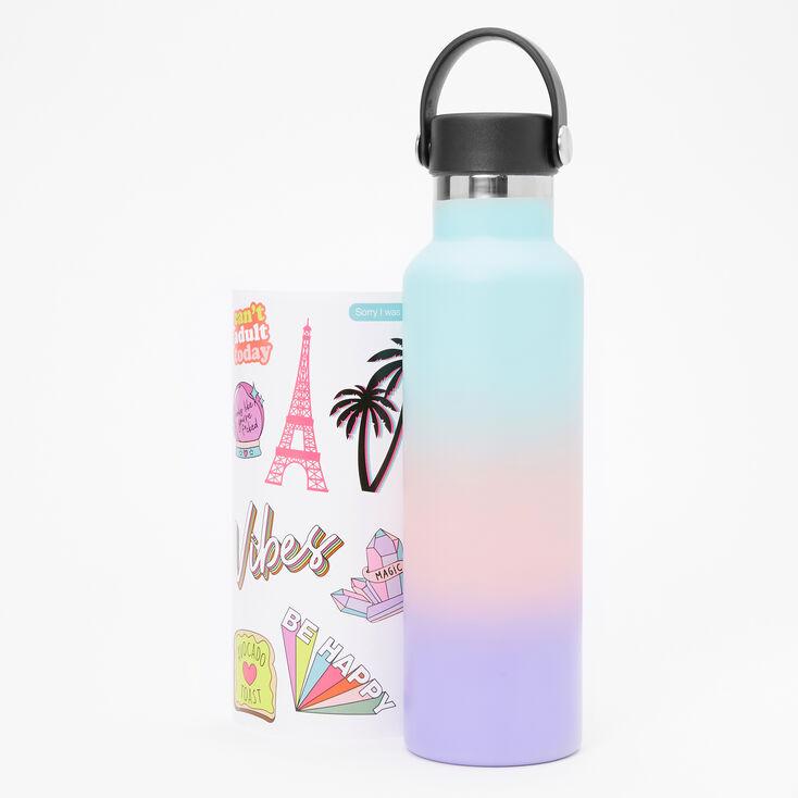 Pastel Ombre Sticker Metal Water Bottle,