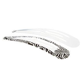 Zebra Print Jumbo Snap Hair Clips - White, 2 Pack,