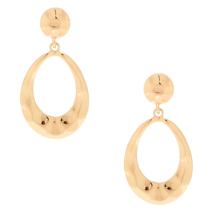"""Gold 2"""" Hammered Drop Earrings,"""