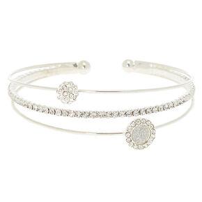 Silver Glass Rhinestone Glitter Cuff Bracelet,