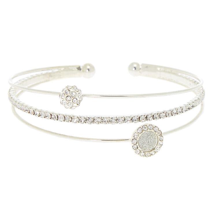 495f491817 Silver Glass Rhinestone Glitter Cuff Bracelet