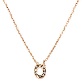 Rose Gold Studded Initial Necklace - O,
