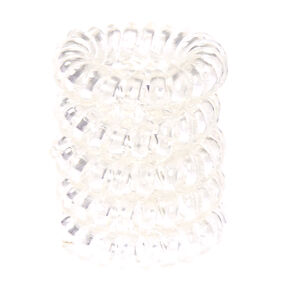 Clear Metallic Coiled Hair Ties,