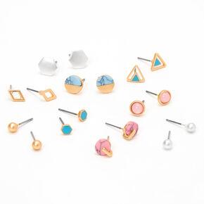 Mixed Metal Blue & Pink Geometric Marble Stud Earrings - 9 Pack,