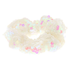 Iridescent Sequin Hair Scrunchie - White,