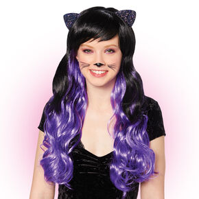 Cat Ears Curly Wig - Black,