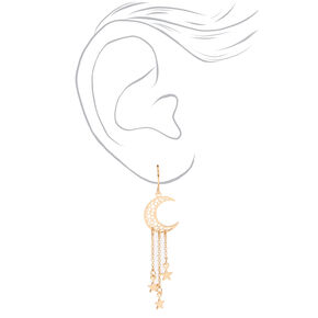 "Gold 2"" Crescent Moon Star Drop Earrings,"