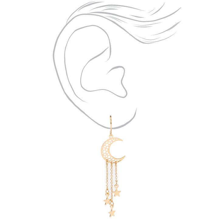 "Gold 2"" Crescent Moon Star Drop Earrings,"