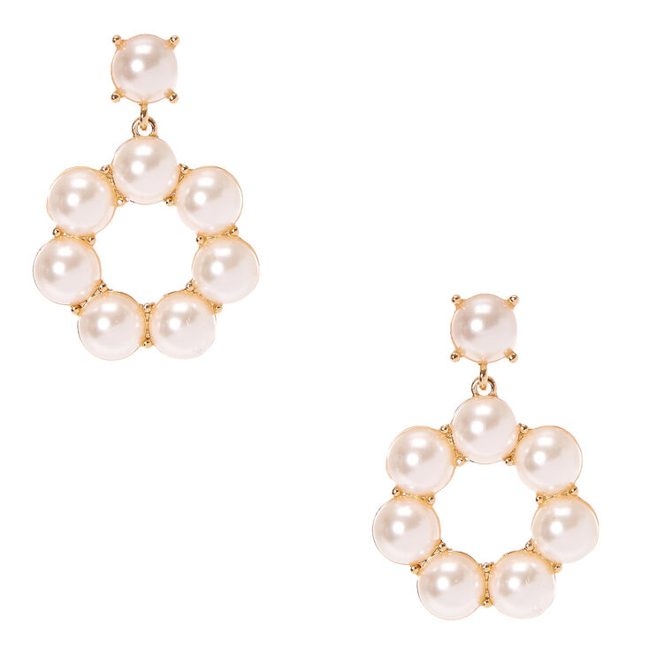 Faux Pearl Gold Donut Drop Earrings,