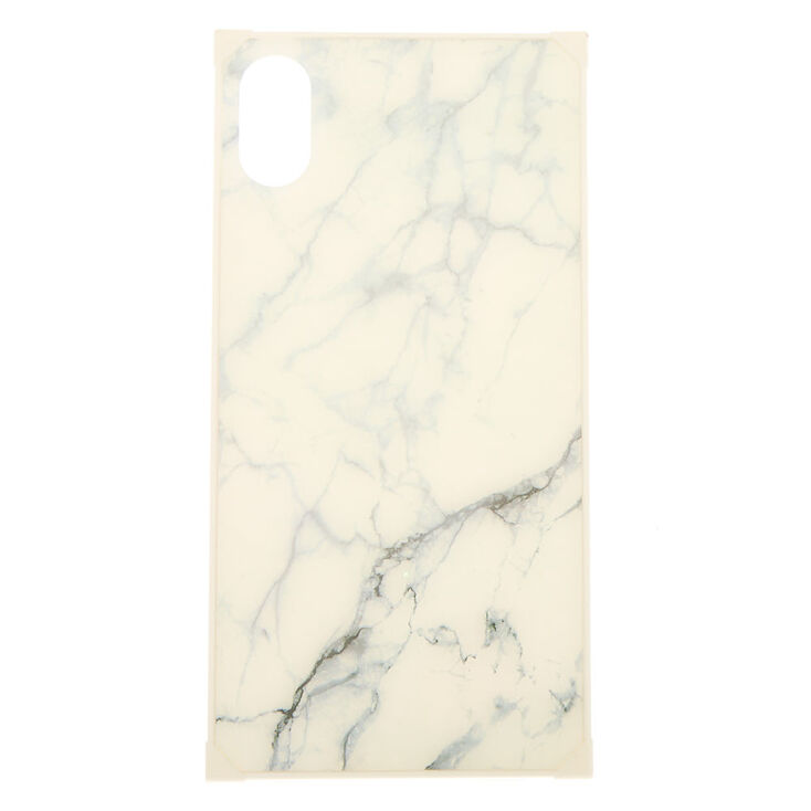 White Marble Square Phone Case - Fits iPhone XS Max,