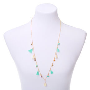 Gold Shell Tassel Long Pendant Necklace - Turquoise,
