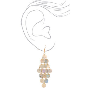 "Gold 3"" Shell Chandelier Drop Earrings - Cream,"
