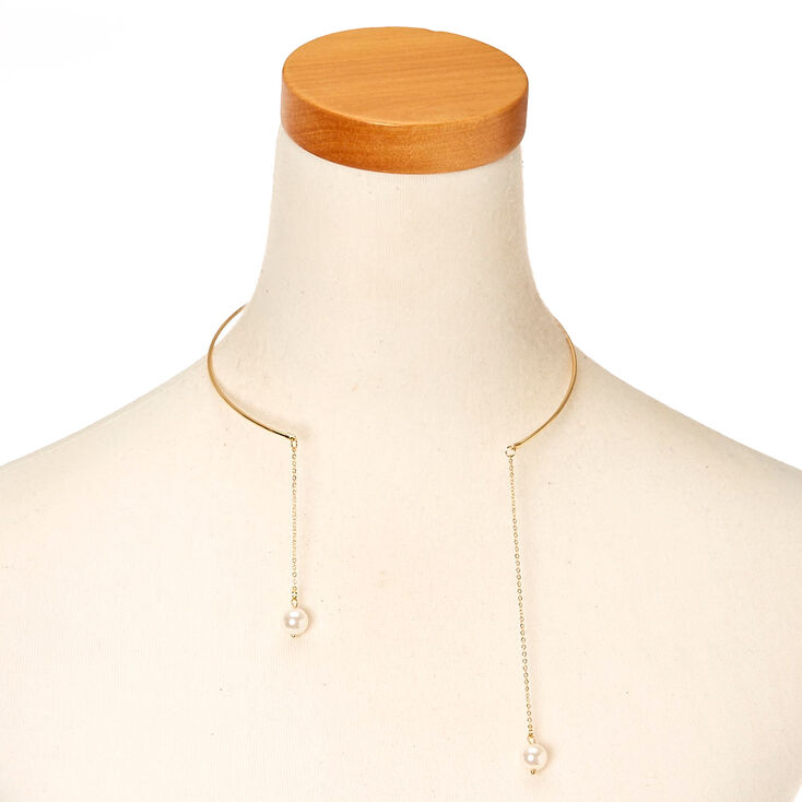 Gold-Tone Choker Necklace with Pearl Dangles,