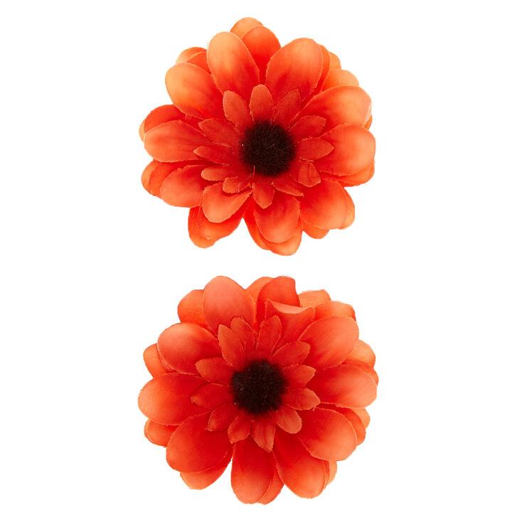 Sunflower Hair Clips - Orange, 2 Pack,