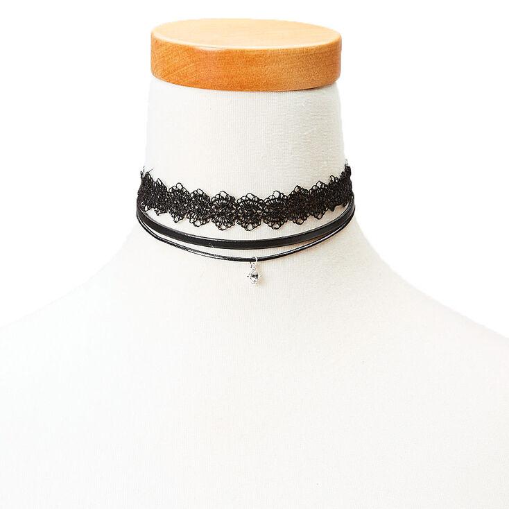 Black Lace & Double Cord Choker Set,