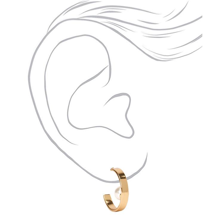 Gold 20MM Single Pearl Hoop Earrings,