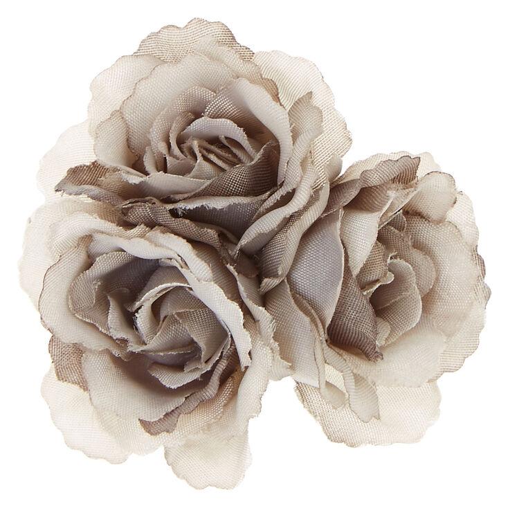 Gray Rose Trio Hair Clip,