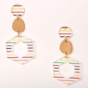 """Gold 2"""" Rainbow Striped Geometric Drop Earrings,"""