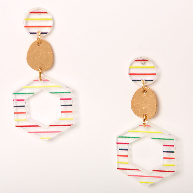 "Gold 2"" Rainbow Striped Geometric Drop Earrings,"