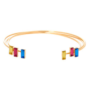 Gold Stain Glass Cuff Bracelet Set - 3 Pack,